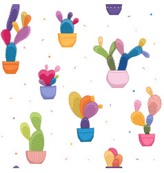 bright colorful cacti plant cactus flower pattern vector image