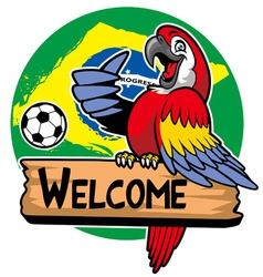 macaw bird greeting vector image