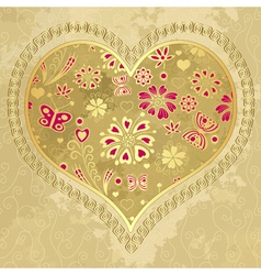 Old grunge paper with big heart vector image vector image