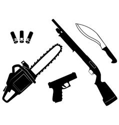Set of gangster criminal weapons vector image vector image