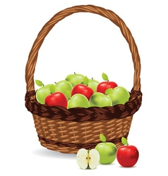 Basket of Red and Green Apples2 vector image vector image