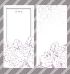 Set of invitations with floral background vector image