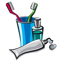 toothbrush and toothpaste vector image vector image
