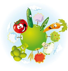 vegetable planet vector image