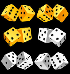 casino dice set of authentic icons yellow and vector image vector image