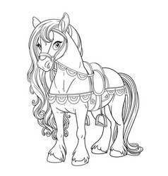 cute horse harnessed to a saddle outlined picture vector image vector image