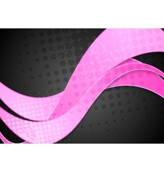 Grunge corporate pink waves on black vector