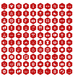 100 active life icons hexagon red vector image vector image