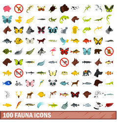 100 fauna icons set flat style vector