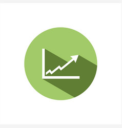 benefits chart icon on green button vector image vector image