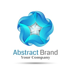 Blue swirl icon Abstract glossy circle logo vector image vector image