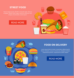fast food 2 flat banners webpage vector image