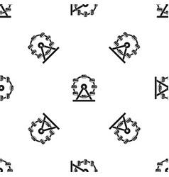 Giant ferris wheel pattern seamless black vector