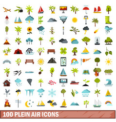 100 plein air icons set flat style vector image