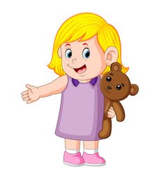 A girl funy playing with the cute brown teddy bear vector