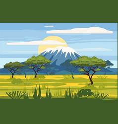 African landscape savannah wild nature grass vector