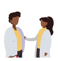 Afro couple medicine workers with uniform vector