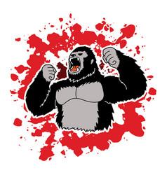 angry king kong big gorilla vector image