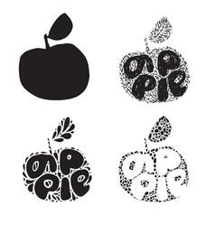 apple silhouette fresh fruit typography vector image
