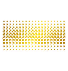 Arrow up right gold halftone effect vector