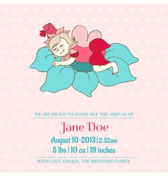 Baby arrival or shower card - with sleeping fairy vector
