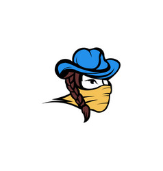 Bandit girl wearing a cowboy hat with long hair vector