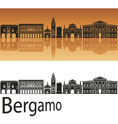 Bergamo skyline in orange background vector