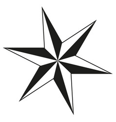 black and white 6 point star silhouette vector image