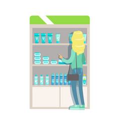Blond woman in pharmacy choosing and buying drugs vector