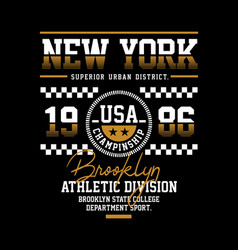 Brooklyn athletic sport typography design vector
