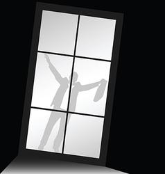 Businessman behind window silhouette vector