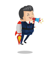 Businessman flying jetpack with bullhorn vector