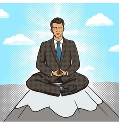 Businessman meditation cartoon pop art style vector image