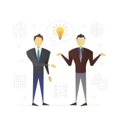 Businessmen discussing business idea flat vector