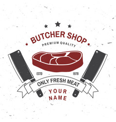 butcher meat shop badge or label with steak and vector image
