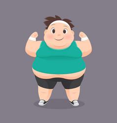 Cartoon fat man in a sports uniform vector