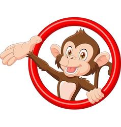 Cartoon funny monkey presenting vector