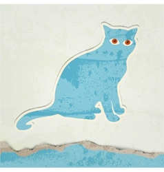 cat silhouette retro poster vector image vector image