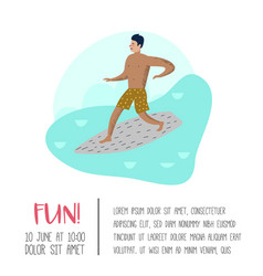 character man surfing at the beach poster vector image