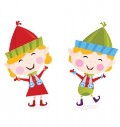 Christmas boy and girl elves vector