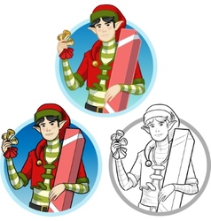 Christmas elf Asian boy with gift set vector image