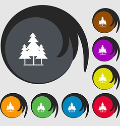 Christmas tree icon sign Symbols on eight colored vector