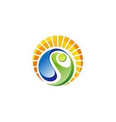 circle wellness people logo natural sunlight icon vector image
