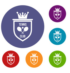coat of arms of tennis club icons set vector image
