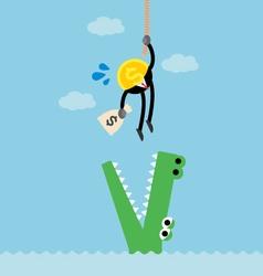 coin money climb rope escape crocodile vector image