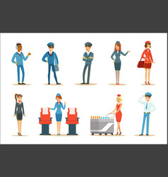 commercial flight board crew set of air vector image
