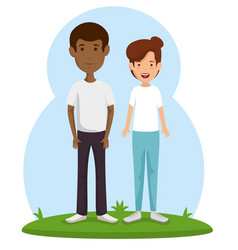 couple friends happy characters vector image