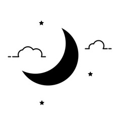 Crescent moon silhouette black print cutout vector