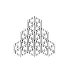 Cube pyramid icon isometric 3d style vector