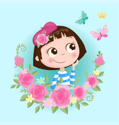 cute cartoon girl in a wreath roses flowers vector image